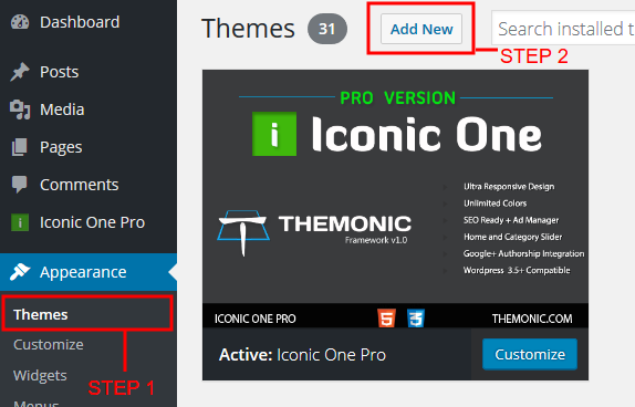 WP Theme Installation steps