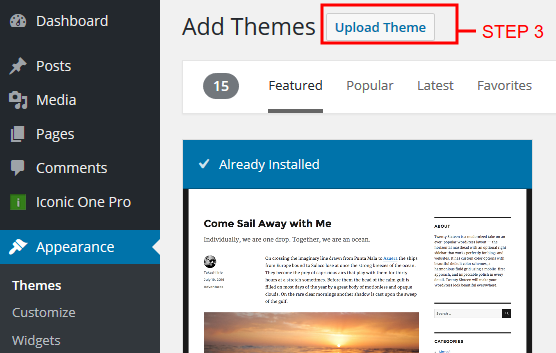 theme upload wordpress