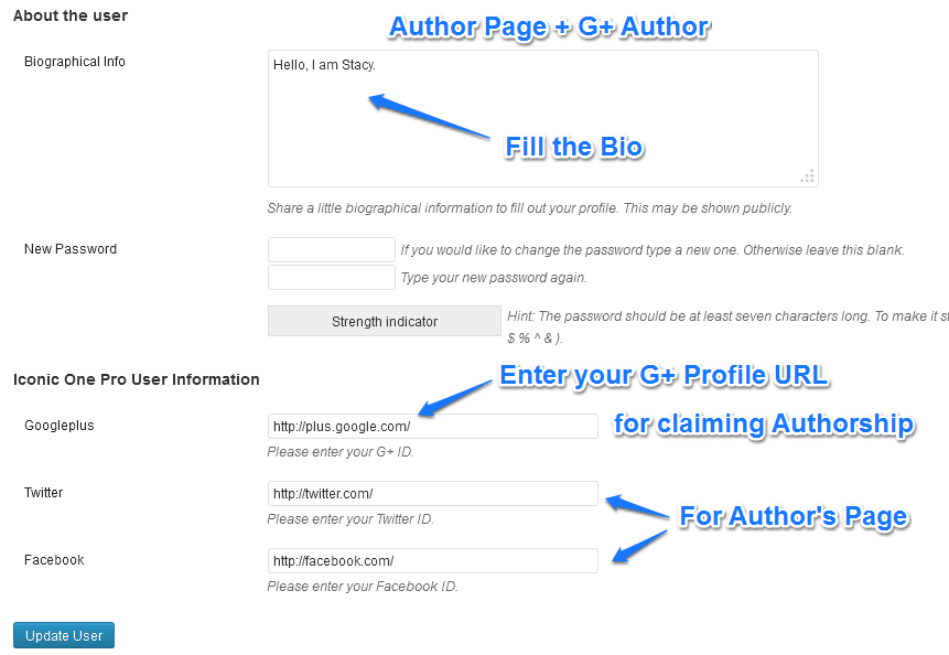 author page setup